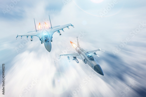 plakat Fighter jet intercepts accompanies another fighter. Conflict, war. Aerospace forces.