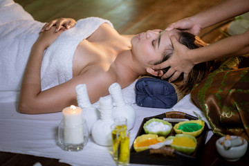 Obraz na płótnie Canvas natural beauty institute with oils and herbs for beautiful women spa and resort service in the garden