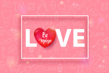 Script Love Text With 3d Red H...
