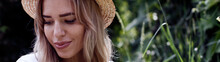 Girl Blonde In A Straw Hat In ...