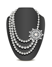 Illustration Of Pearl Necklace And Brooch And Ornament