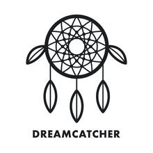 Dreamcatcher Indian Ethnic Feather Ornament. Vector Flat Line Stroke Icon. Dream Catcher Magic Symbol.