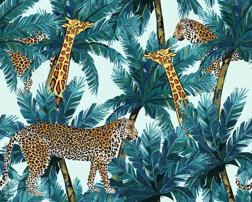 Fényképezés Tropical seamless pattern with tiger and giraffe