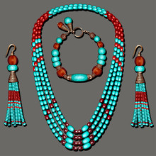 Illustration Of Jewelry Set With Turquoise Beaded Earrings Blue And Brown With Tassels