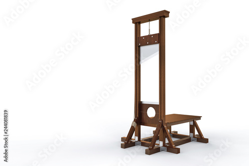 Valokuva Guillotine instrument for inflicting capital punishment by decapitation isolated on white background