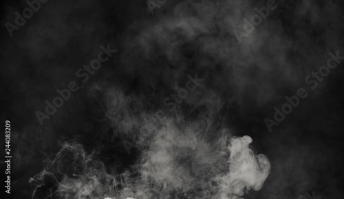 Foto op Plexiglas Rook Abstract smoke mist fog on a black background. Texture. Design element.