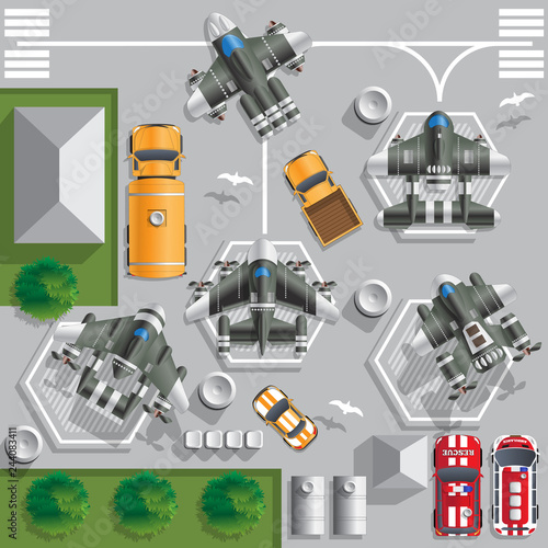 Fotografie, Obraz  Base of space ships. Vector illustration. View from above.