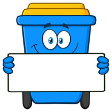 Smiling Blue Recycle Bin Cartoon Mascot Character Holding Blank Sign. Vector Illustration Isolated On White Background