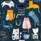 Fototapeta Fototapety na ścianę do pokoju dziecięcego - Seamless pattern with cute Kittens in diferent style. Creative childish texture. Great for fabric, textile Vector Illustration