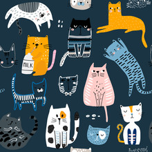 Seamless Pattern With Cute Kittens In Diferent Style. Creative Childish Texture. Great For Fabric, Textile Vector Illustration
