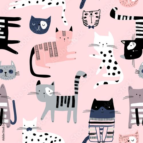 obraz lub plakat Seamless pattern with cute colorful Kittens. Creative childish texture. Great for fabric, textile Vector Illustration