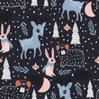Seamless winter pattern with dear, bunny, bear and holiday elements . Creative kids for fabric, wrapping, textile, wallpaper, apparel. Vector illustration