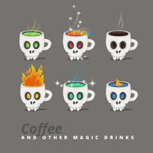 Spooky Halloween Drinks, Set Of Icons. Cup Like A Skull With A Fantastic Liquid. Vector Illustration.