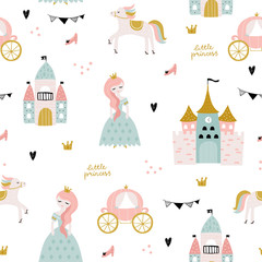 Childish seamless pattern with princess, castle, carriage in scandinavian sty...