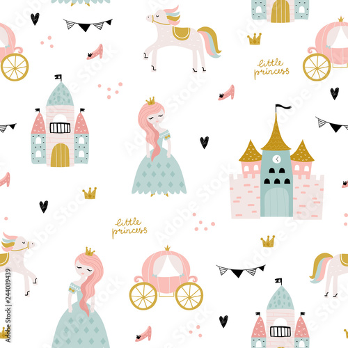 Fotografie, Obraz  Childish seamless pattern with princess, castle, carriage in scandinavian style