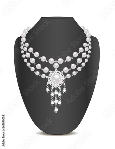 Illustration of pearl necklace and brooch and ornament Fototapeta