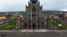 Beautiful Cinematic Aerial View Of The Coronado Church In Costa Rica