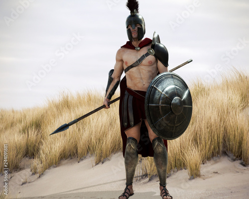Fotografia Portrait of a battle hardened Greek Spartan Male warrior equipped with a spear and shield ready for battle