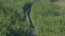 Aerial View Freight Train Near Nenana Alaska America