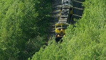 Aerial View Railroad Freight Train To Fairbanks Alaska