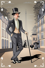 Belle Epoque Poster From Paris. Handmade Drawing Vector Illustration