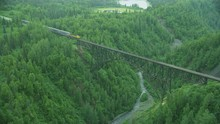 Aerial View Train Hurricane Gulch Bridge Denali Alaska