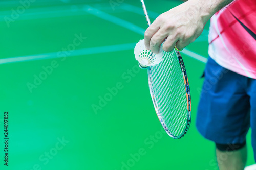 Fotografie, Obraz  Male Badminton single player hand holds white shuttle cock together with racket, ready to serve position on play green court