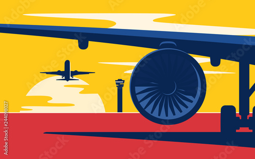 Photo Takeoff. Flat style vector illustration of the airliners at suns