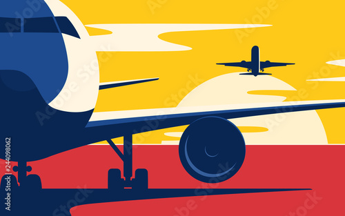 Poster Pop Art Air traffic. Flat style vector illustration of the airliners at