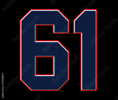 Fotografia  61 American Football, Baseball and Basketball Classic Vintage Sport Jersey Number in blue, white and red
