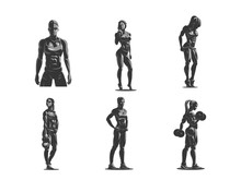 Woman Fitness Emblem Set.