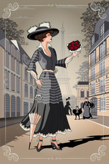 FototapetaA girl with an umbrella and a bouquet of roses on Paris street. Belle Epoque vintage poster from Paris.