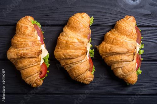 Canvas Print French croissant sandwich