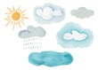 Leinwandbild Motiv Cute colorful watercolor weather elements. Hand painted decorative clouds, rain drops, yellow sun for kids print design, patterns, stickers, apps and books decoration