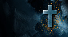 Christian Cross With Golden Paint Splatter Graphic Background