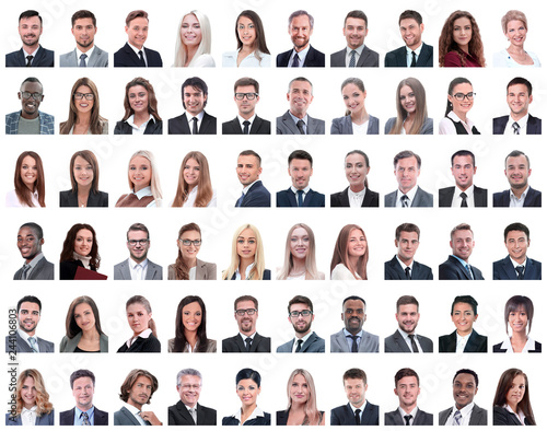 Photo  portraits of successful employees isolated on a white