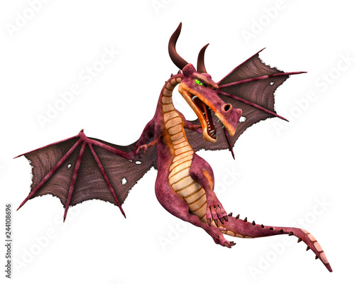 red dragon cartoon in a white background