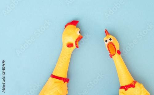 Vászonkép Shrilling Chicken toy on a blue background
