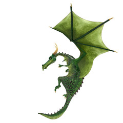 green dragon cartoon in a white background