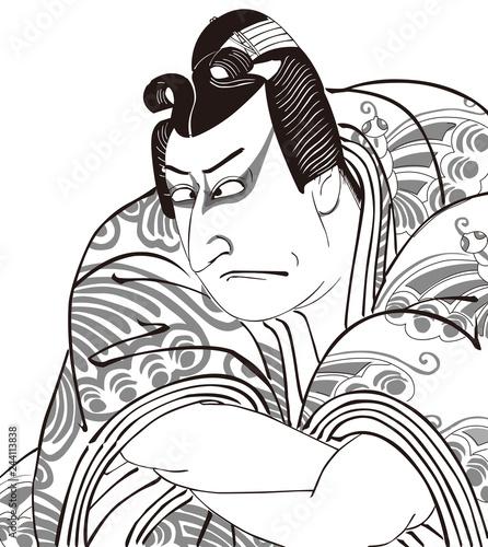 浮世絵 歌舞伎役者 その13 白黒 Wallpaper Mural