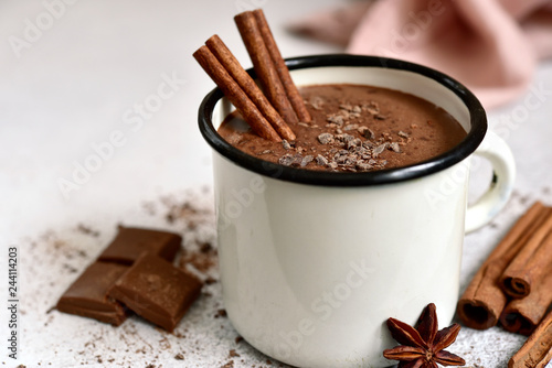 Poster Chocolate Homemade hot chocolate in a white enamel mug.