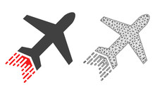 Polygonal Mesh Jet Liner And Flat Icon Are Isolated On A White Background. Abstract Black Mesh Lines, Triangles And Nodes Forms Jet Liner Icon.