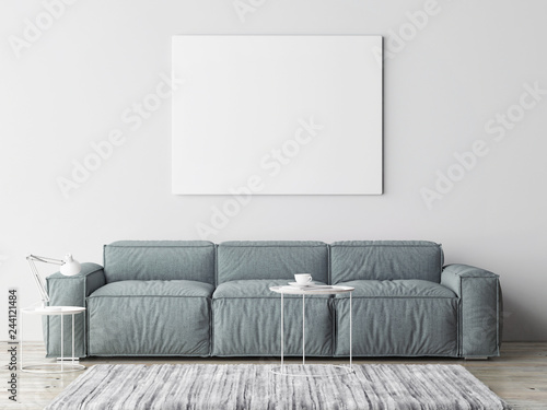 Mock poster in Scandinavian Living Room, 3d render, 3d illustration
