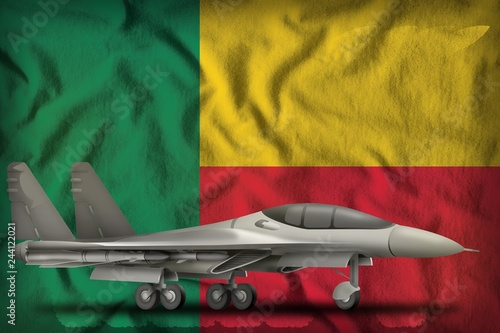 Fotografía  fighter, interceptor on the Benin state flag background