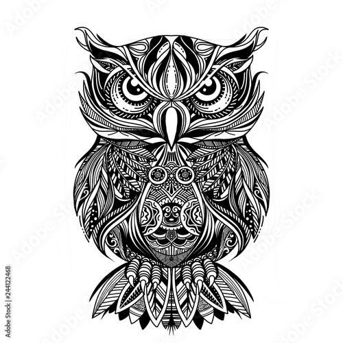 Poster Uilen cartoon Coloring Page. Coloring Book. Colouring picture with OWL drawn in zentangle style. Antistress freehand sketch drawing. Vector illustration.