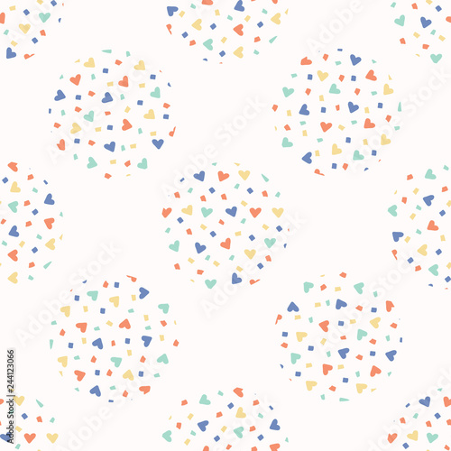 love heart confetti polka dot vector pattern hand drawn repeating all over print abstract kawaii rainbow circle illustration for trendy fashion prints kids room home decor background buy this stock vector love heart confetti polka dot vector