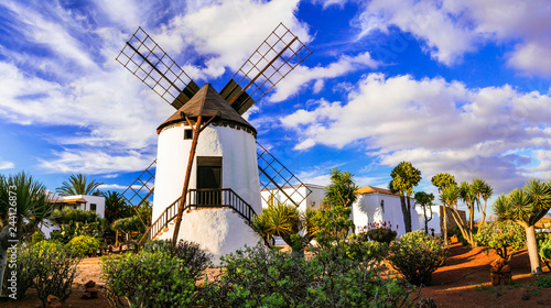 Fuerteventura - traditional windmill in Antigua village. Canary islands