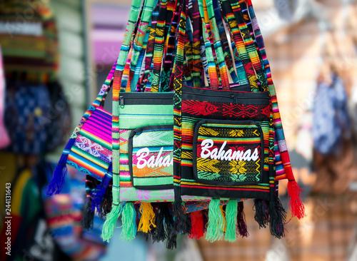 Photo NASSAU, BAHAMAS - January 7 ,2019. Bahamas souvenir colorful bags