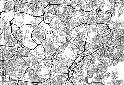 Canvas Print Area map of Kuala Lumpur, Malaysia