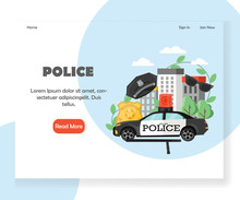 Police Vector Website Landing Page Design Template